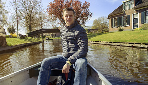 Tourist in a rented boat